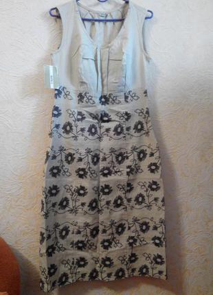 Элегантное  платье льняное  с вышивкой