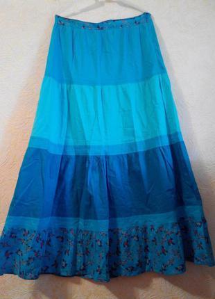 Сине-зелёная юбка хлопковая