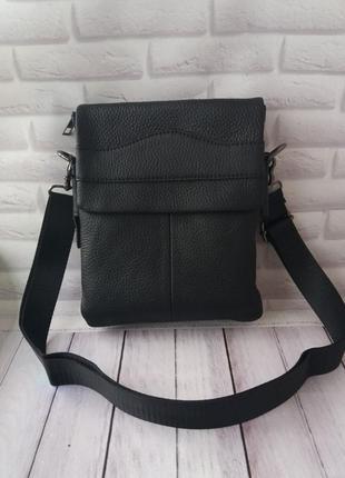 Кожаная класическая мужская сумка на плечо из натуральной кожи...