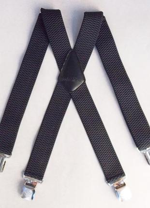 Широкие мужские подтяжки paolo udini темно-серые