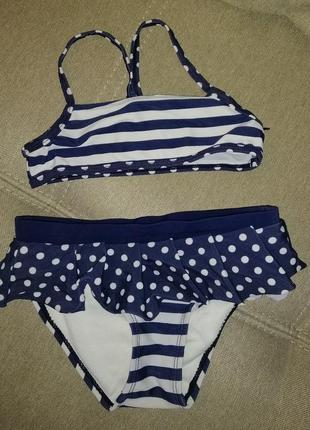 Детский раздельный купальник - топ и плавки с юбочкой для девочки
