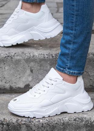 Шикарные мужские кроссовки белые