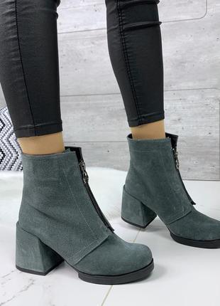Замшевые ботильоны на удобном каблуке,серые  ботинки из натура...