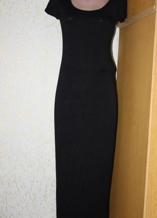 Черное макси платье футляр, м