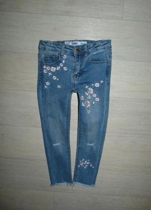 Скинни, джинсы с вышивкой denim&co 4-5 лет