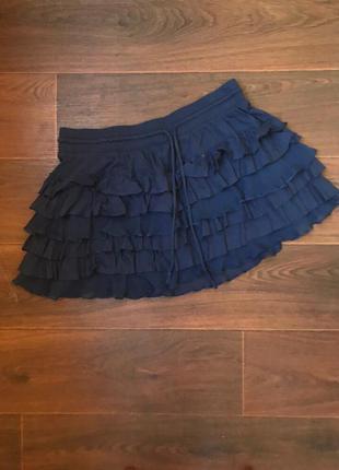 Синяя юбка с рюшами