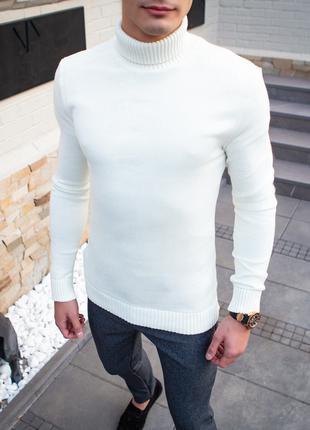 Свитер мужской зимний с высоким вторником белый | Гольф под го...