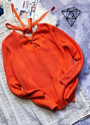 100% коттон крутой свитер с завязкой на спине