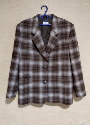 Трендовый шерстяной пиджак жакет блейзер в клетку jean biolay