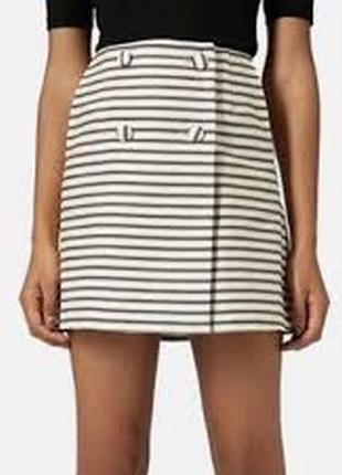 Актуальная двубортная юбка мини в полоску №21