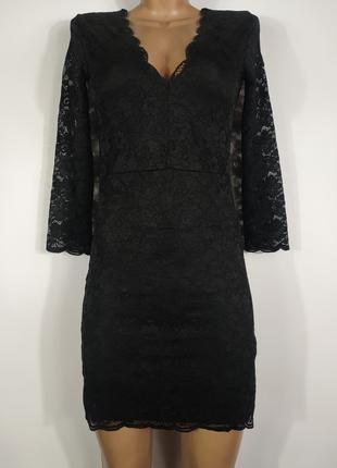 Коктейльное черное кружевное, гипюровое платье h&m