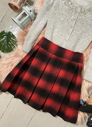 Актуальная теплая юбка в клетку в складку №22