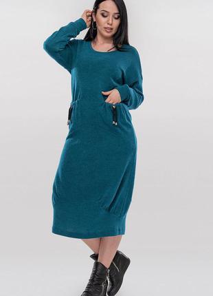 Скидки от фабрики!!шикарное теплое дизайнерское платье свободн...