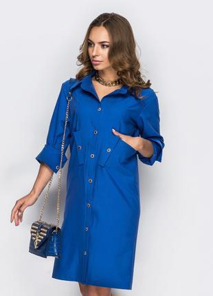 Женское синее платье-рубашка с карманами, размер М