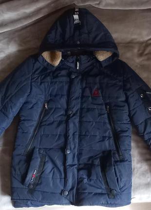 Теплая зимняя стеганая куртка на меху, р. 158-164, темно синяя