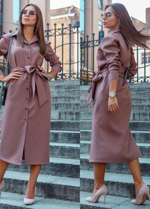 Модное платье-рубашка миди, размер М