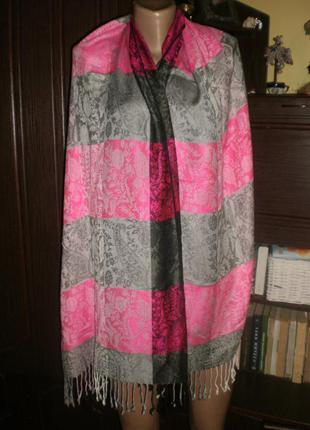 Шикарної якості яскравий палантин (шарф, плед) 190*67. віскоза