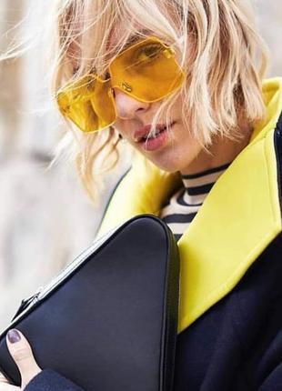 Солнцезащитные очки квадраты безободковые желтые