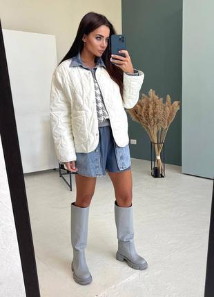Куртка женская, белая, стеганая, трендовая стильная новинка, о...
