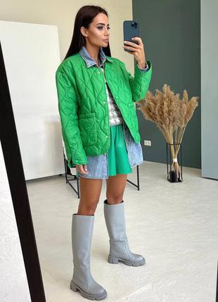 Куртка женская, стеганая, зеленая, дизайнерская новинка, осень...