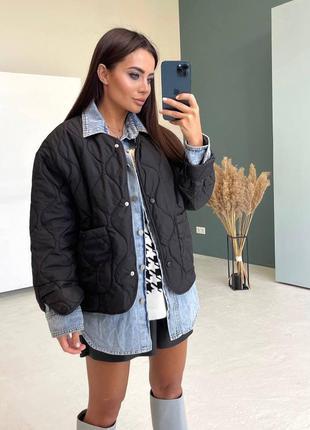 Куртка женская, стеганая черная, стильная, трендовая, осень, в...