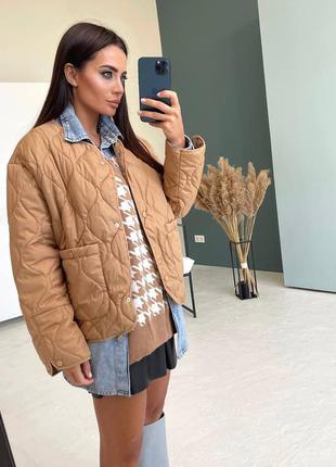 Куртка женская, трендовая стеганая, бежевая, осень, весна, нов...