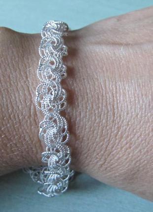 Браслет серебряный плетения роза. серебро 925 пробы. ручное пл...