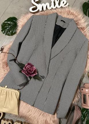 Актуальный двубортный пиджак жакет блейзер в гусиную лапку №29