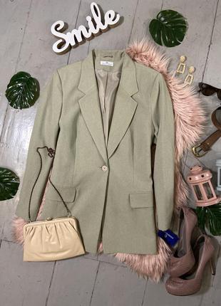 Актуальный фисташковый удлиненный пиджак жакет блейзер №30