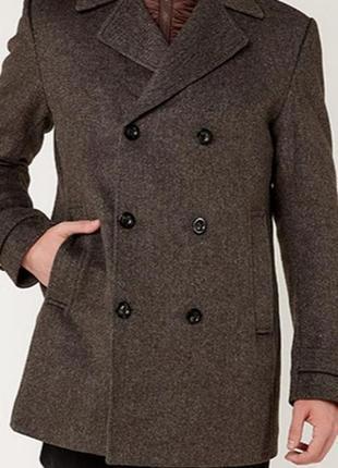 Серое двухбортное шерстяное пальто жакет полупальто блейзер де...