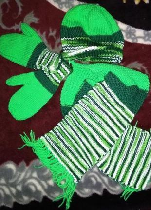 Детский комплект шапочка+варежки+перчатки, 3-6лет