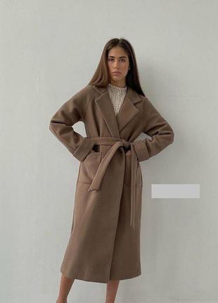 Кашемировое пальто прямого кроя на подкладе с поясом