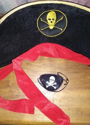 Костюмированная пиратская шапка+наглазник