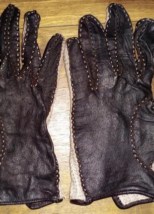 Женские перчатки, винтаж, кожа+хлопок