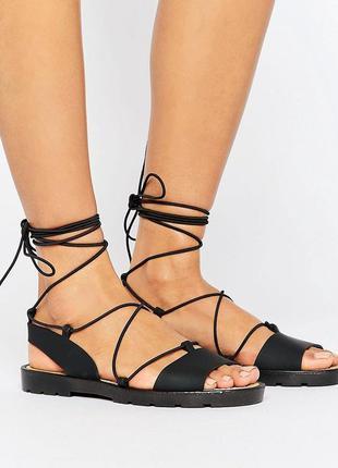 Силиконовые босоножки сандалии с завязками асос asos