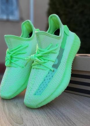 Женски кроссовки adidas yeezy boost 350 v2 салатовые (неон)