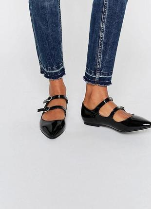 Лаковые туфли балетки с острым носком daisy street от асос asos