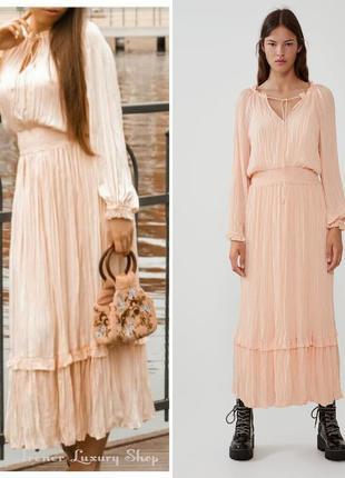 Воздушное  персиковое платье zara m-l-хl
