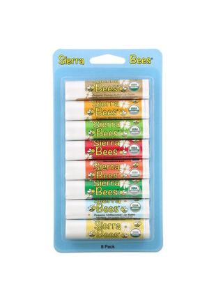 Комплект из 8 бальзамов для губ iherb sierra bees, новый!