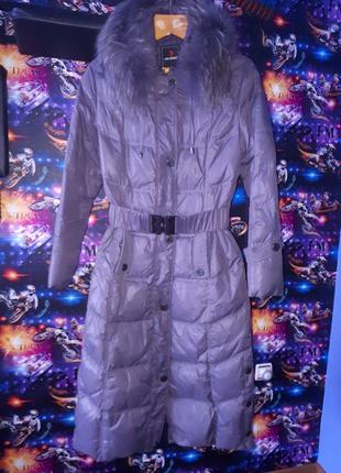 Пальто пуховик длинное