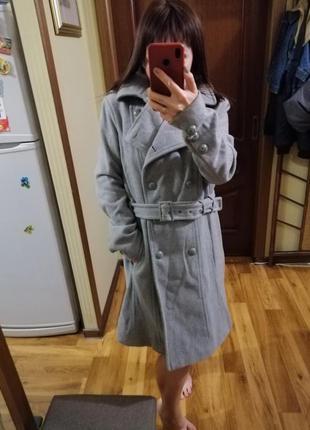Шикарное осеннее пальто/пальто под пояс/базовое двубортное пальто