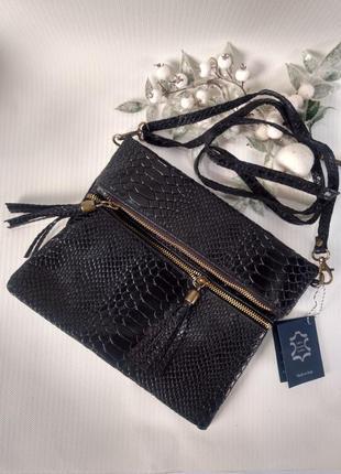 Женская кожаная сумочка-кроссбоди чёрная