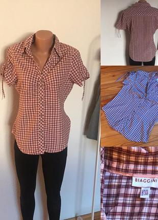 Стильная рубашка футболка в клетку biaggini. 10/38/m