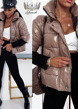 Женская куртка монклер рукав вязка