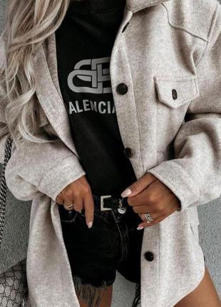 Женское пальто рубашка кашемир шерсть