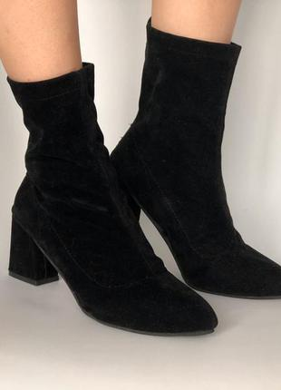 Черные сапоги ботильоны с острым носком