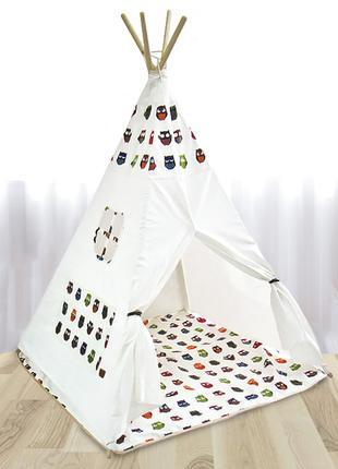 Детская игровая палатка Littledove RT-1640 Лесные совы вигвам ...