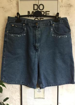 Джинсовые шорты, высокая талия, стиль 90-х, винтаж, вышивка, 5...
