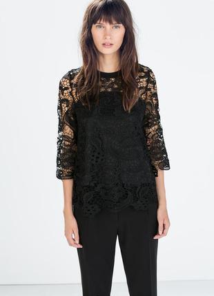 Zara кружевная блуза