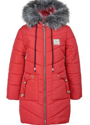Зимняя куртка красного цвета на девочку 6-10 лет